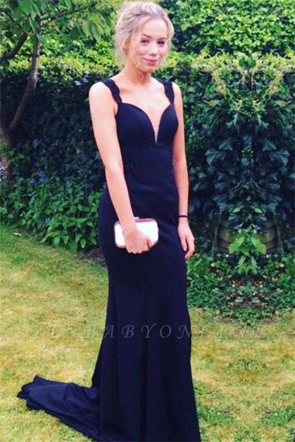 Long Two-straps Elegant Sweep-Train Mermaid Prom Dress