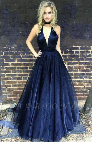 Sleeveless Floor-length V-neck A-line Chic Black Prom Dress