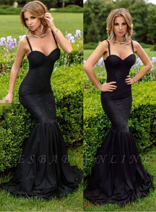 Spaghetti-Straps Sexy Sweetheart Sexy Mermaid Lace Appliques Black Evening Dress