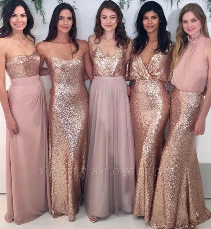 Mismatch Bridesmaid Dress,Sequin Bridesmaid Dresses,Chiffon Bridesmaid Dress