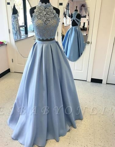 2019 Two-Piece Prom Dresses High Neck Lace Beading Puffy Evening Gowns