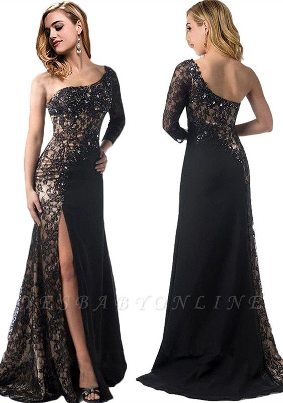 Long-Sleeve One-Shoulder Mermaid Front-Split Stylish Black Prom Dress