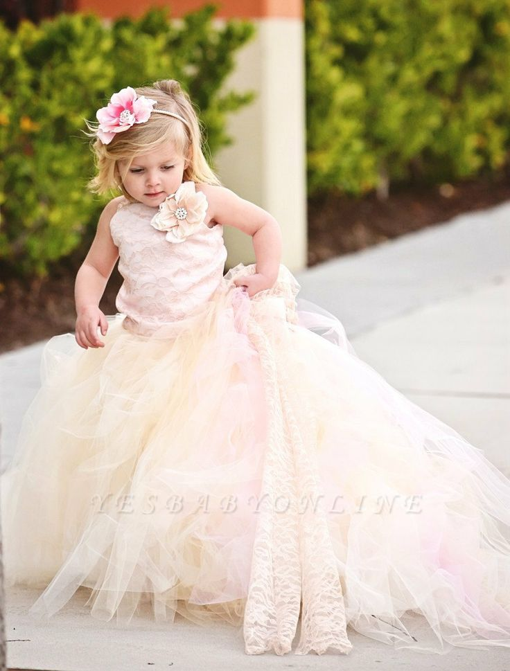 Lovely Sleeveless Tulle Flower Girl Dress With Long Train And Flowers