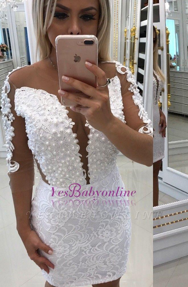 White Short Little Cocktail Long-Sleeve Party Dresses