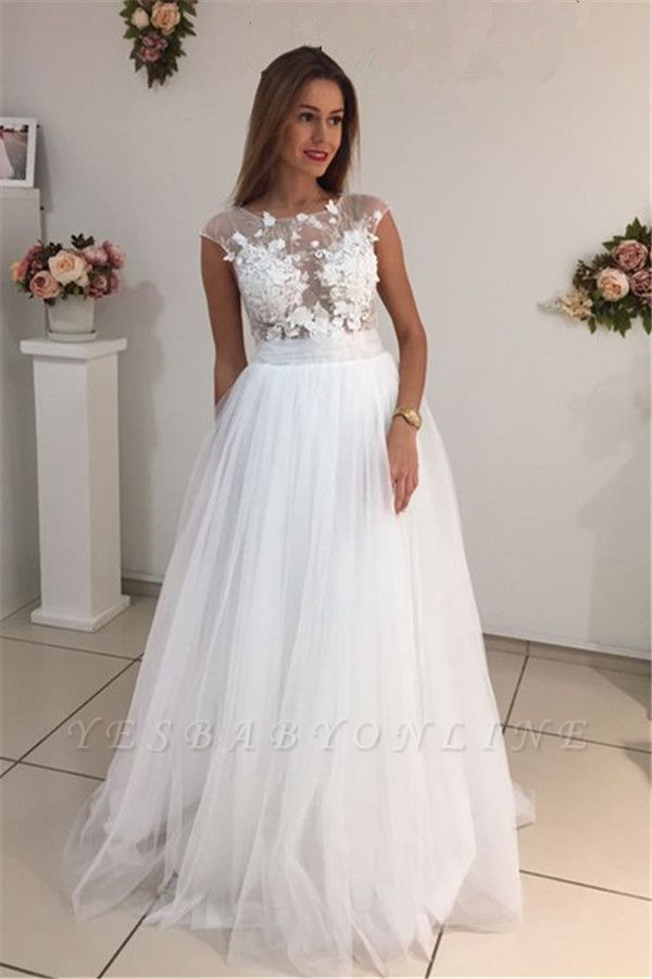 Cap-Sleeves A-Line Glamorous Tulle White Appliques Wedding Dresses