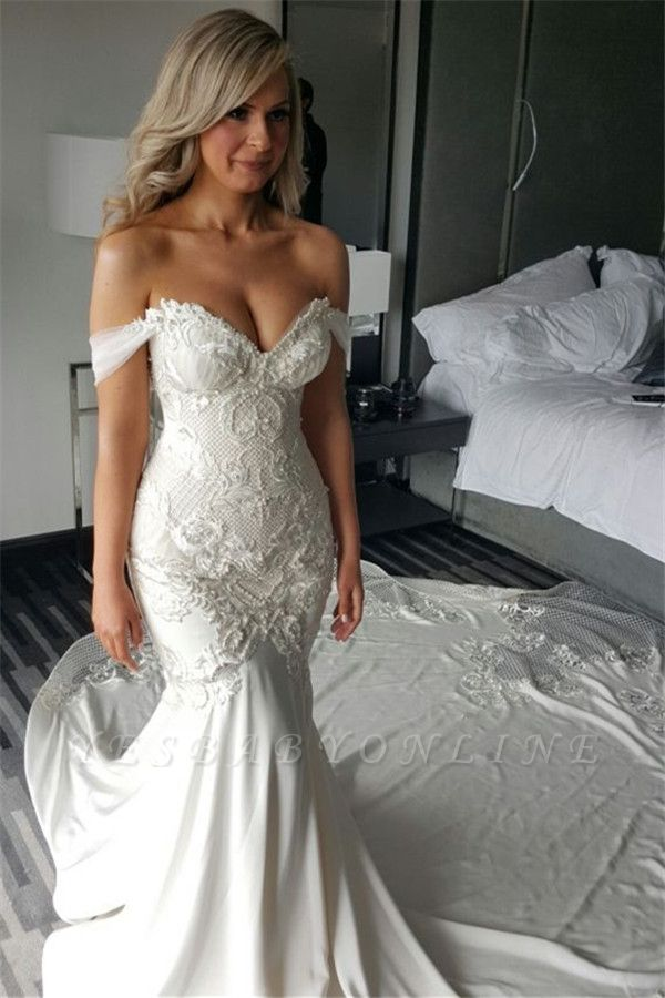 Exquisite Off-the-shoulder Train Lace-Appliques Mermaid Wedding Dress