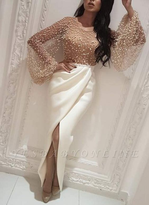Luxury Pearls Slit Evening Gowns | Long Sleeves Ruffles Formal Dresses