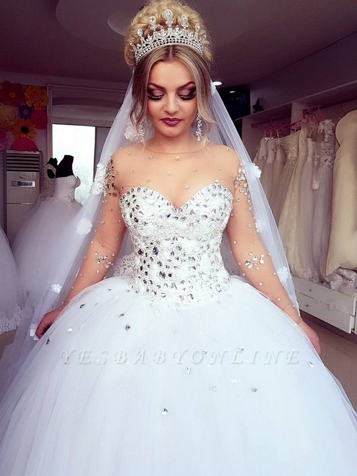 Princess Ball Gown Long Sleevess Brilliant Jewel Crystals Wedding Dresses