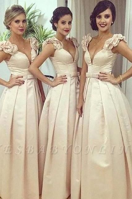 Floor-length V-neck Ball-Gown Bow Ruched Birdesmaid Dress