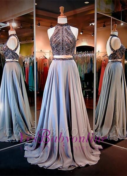 High Neck Crystals A-line Gorgeous Two-Piece Evening Dress
