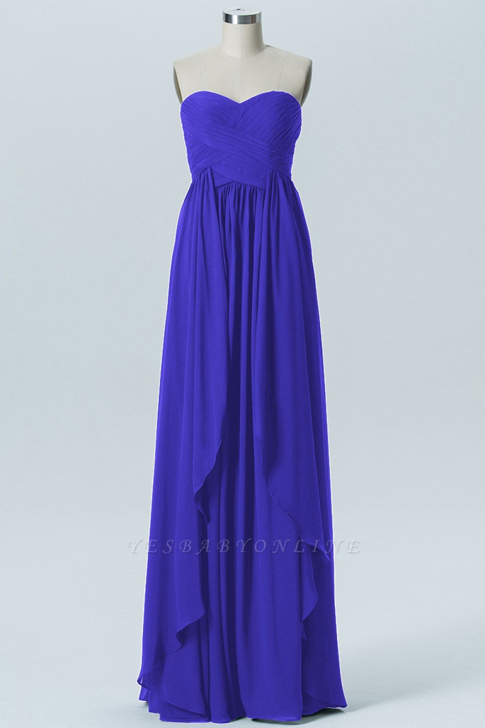 A Line Chiffon Hi-Lo Strapless Sweetheart Bridesmaid Dresses with Ruffles
