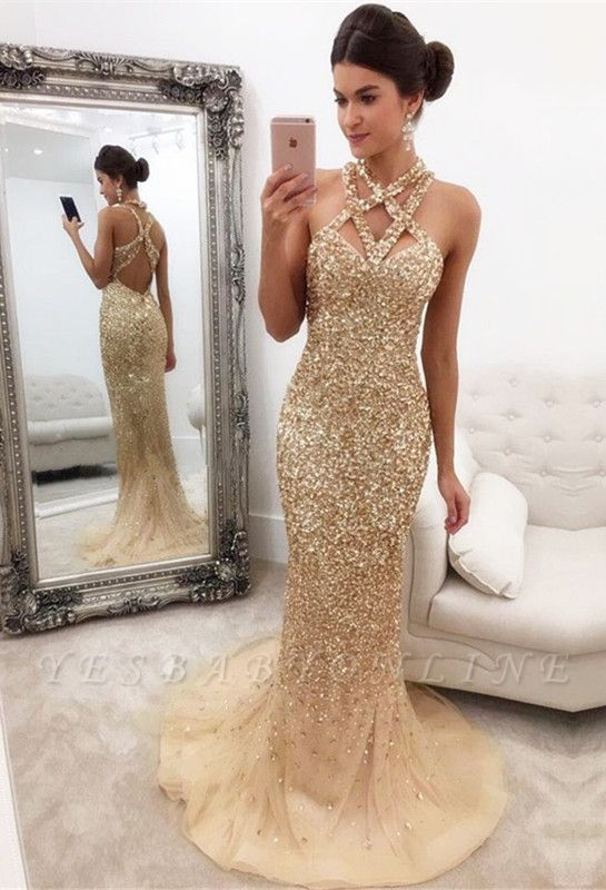 Sleeveless Zipper-Back Halter Gorgeous Crystals Mermaid Prom Dress