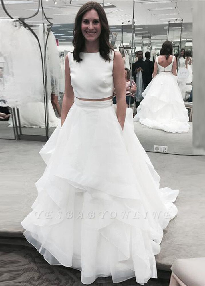 Jewel White Two-Piece A-line Ruffles Modern Sleeveless Wedding Dress