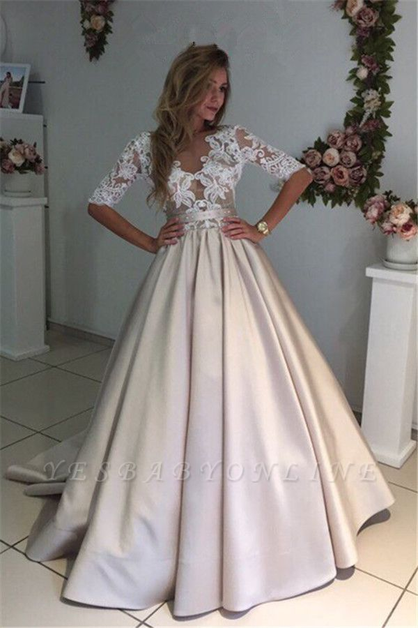 Ball Gown V-Neck Half Long Sleeves Champagne Wedding Dresses