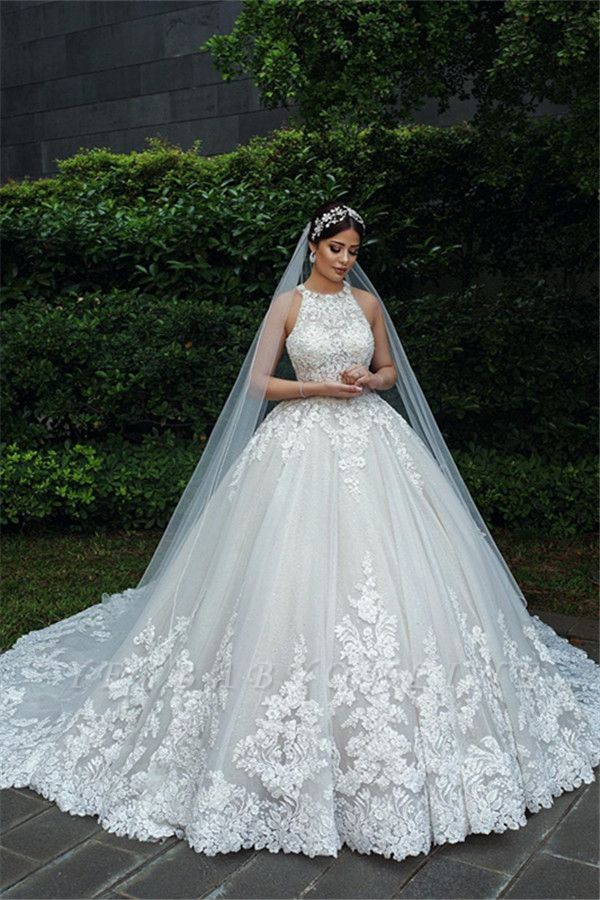 Jewel Sleeveless Lace Ball Gown Wedding Dresses   Gorgeous Bridal Gown