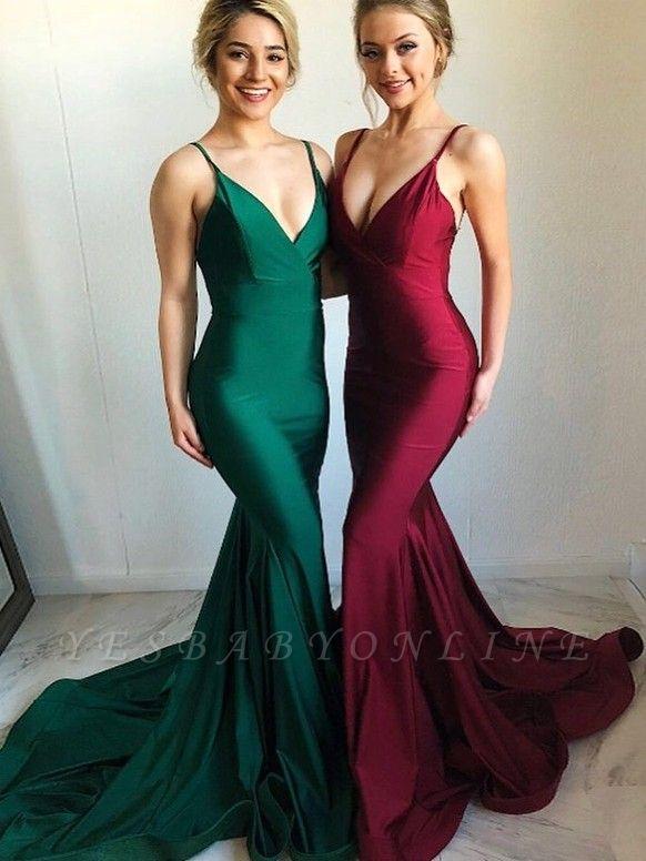 Sexy Open-Back Mermaid Evening Dresses   Simple Spaghetti Straps Prom Dresses
