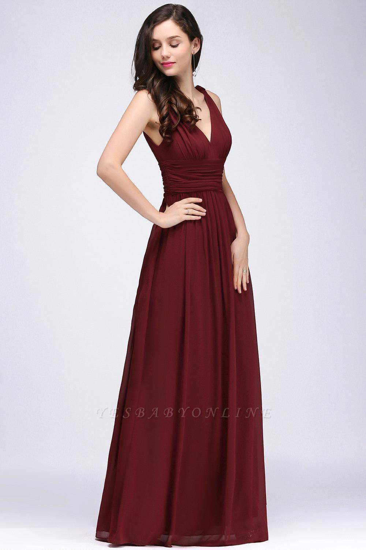 V-Neck Burgundy Ruched  A-line Evening Dresses