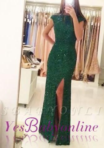 Sexy Backless Floor-length Sequins Sheath-Column Green Evening Dress