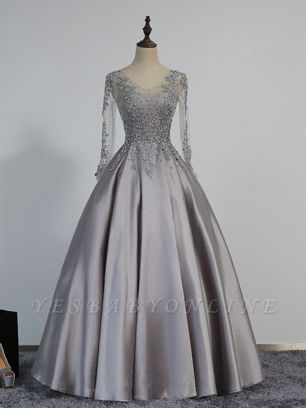 A-line Long-Sleeve Modest Lace-Appliques Beading Prom Dress