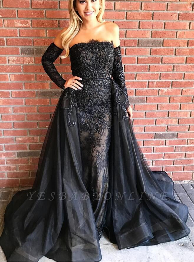Strapless Gorgeous Sheath Over-Skirt Embroideries Black Prom Dresses