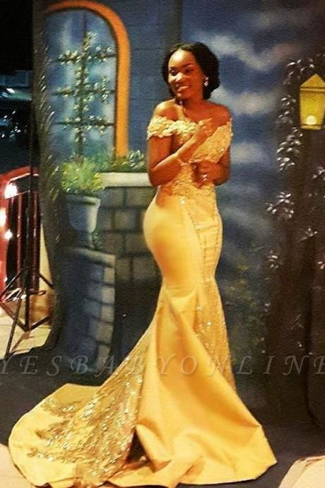 Yellow Mermaid Beading Prom Dresses Off-the-shoulder Long Evening Gowns