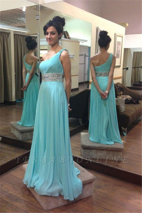 Empire  Beading One-Shoulder Long Sleeveless Prom Dresses