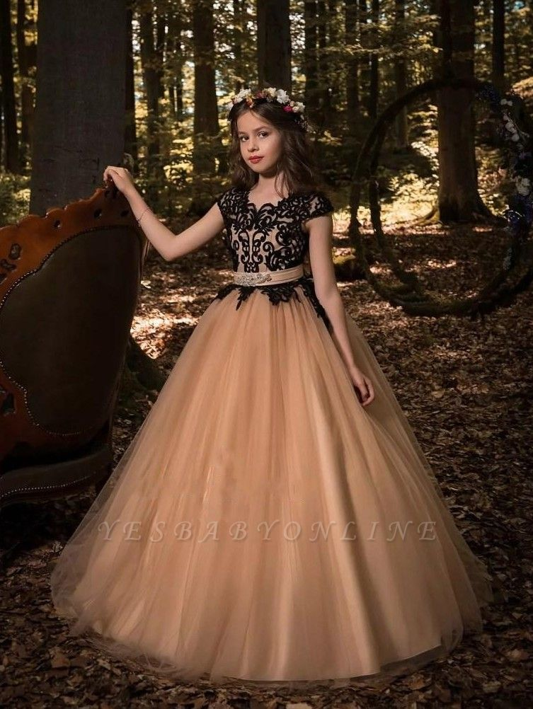 Cute A-Line Flower Girl Dresses | Scoop Cap Sleeves Lace Tulle Pageant Dresses