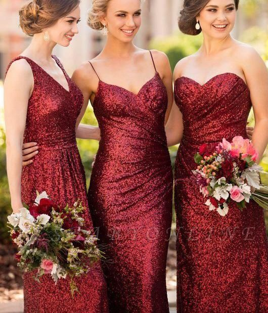 Cheap Burgundy Mismatch Bridesmaid Dress,Long Sequin Bridesmaid Dress