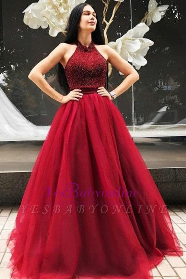 Halter Red A-line Floor-Length Beadings Sleeveless Evening Dress