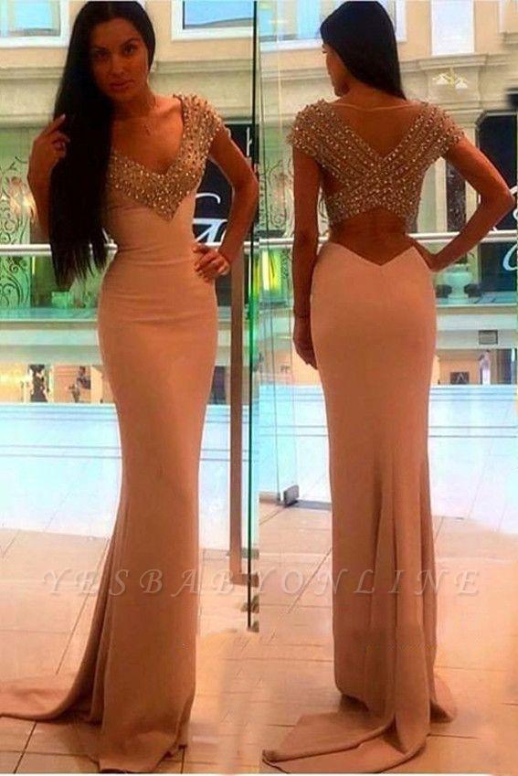 Sexy Crystal Sheath V-Neck Short-Sleeves Prom Dress