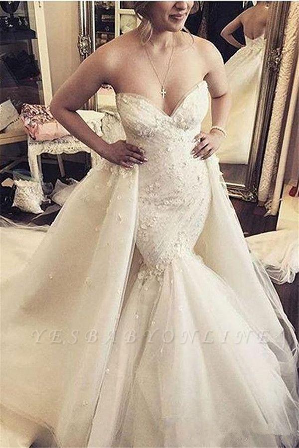 Floral Luxurious Strapless Ruffles Sleeveless Open-Back Detachable-Train Mermaid Wedding Dress