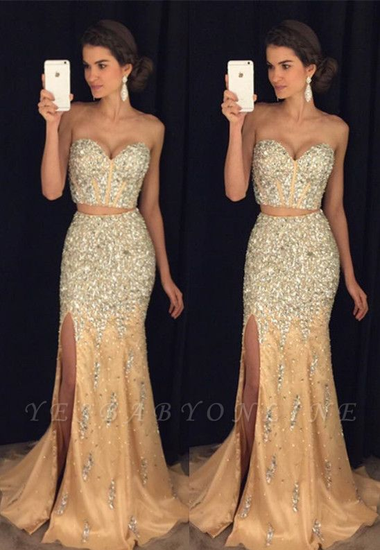 Luxury Crystal Sweetheart Two-Pieces Side-Slit Mermaid Prom Dress