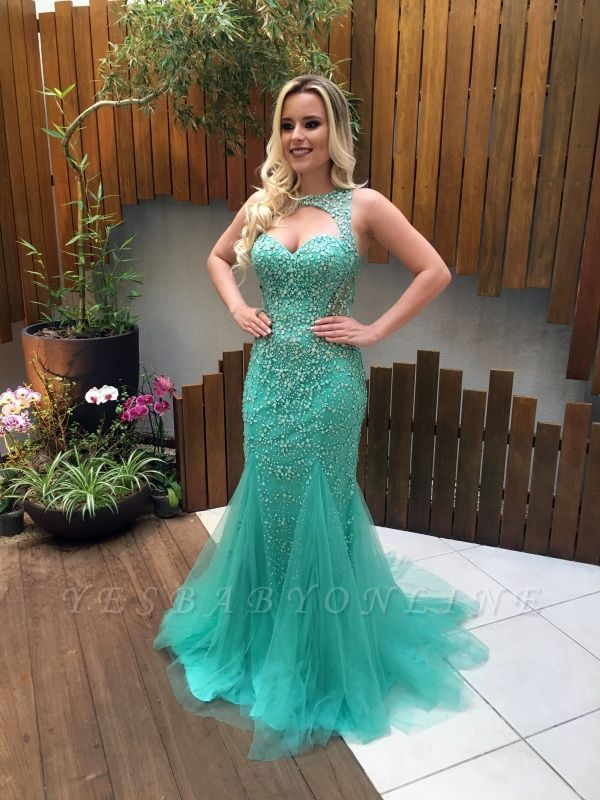 2019 Luxury Beading Prom Dresses Sleeveless Open Back Evening Gowns