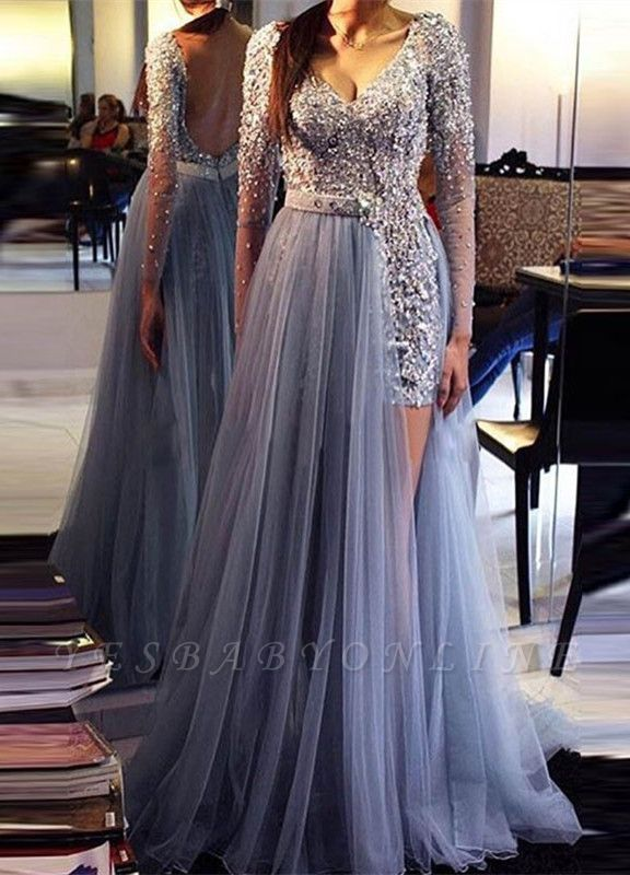Chic Long-Sleeves Evening Dresses |  Beading Backless Prom Dresses