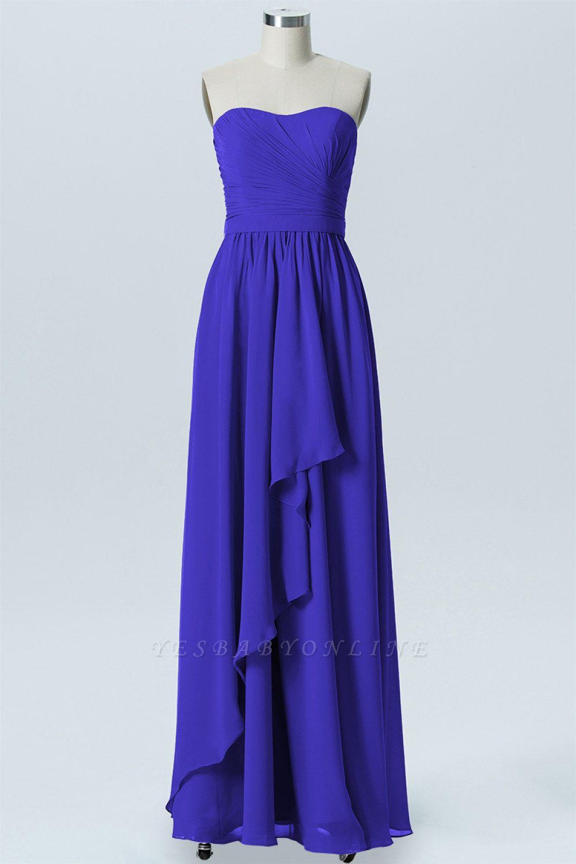 A Line Chiffon Hi-Lo Strapless Sweetheart Sleeveless Bridesmaid Dresses