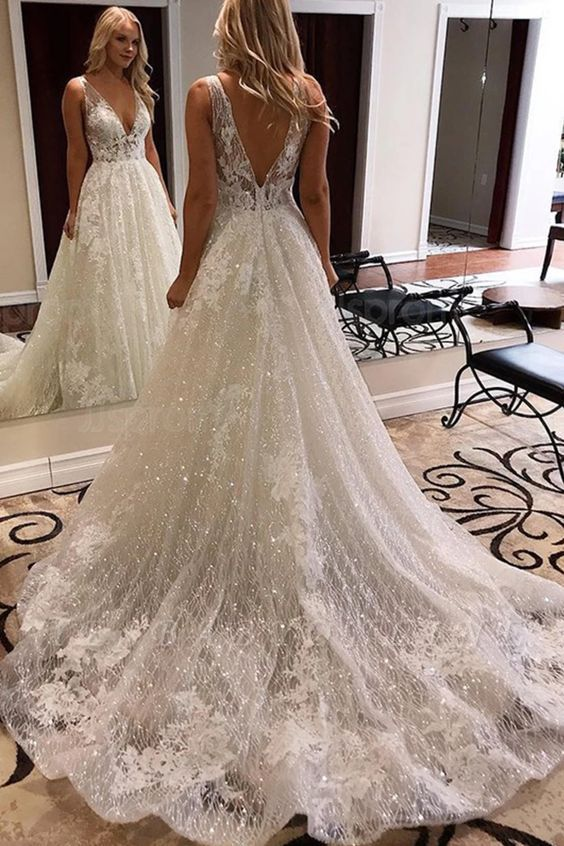 Attractive Straps Deep V Neck Backless Sequined Applique A line Wedding Dresses