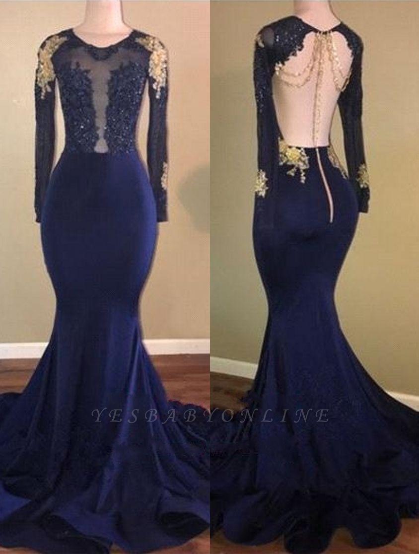 Gold-Appliques Navy-Blue Mermaid Long-Sleeves Sheer Prom Dresses