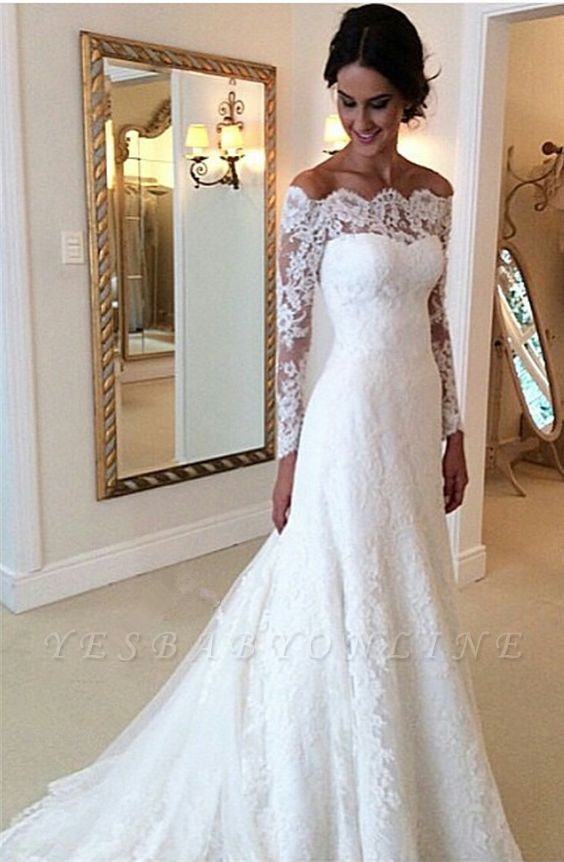 Lace Off-the-Shoulder Long Sleeves Glamorous A-line Wedding Dresses