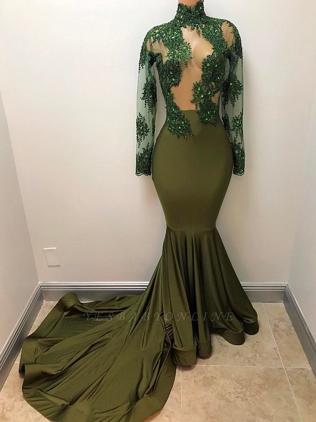 Gorgeous Long Illusion Mermaid High-Neck Long-Sleeves Prom Dresses