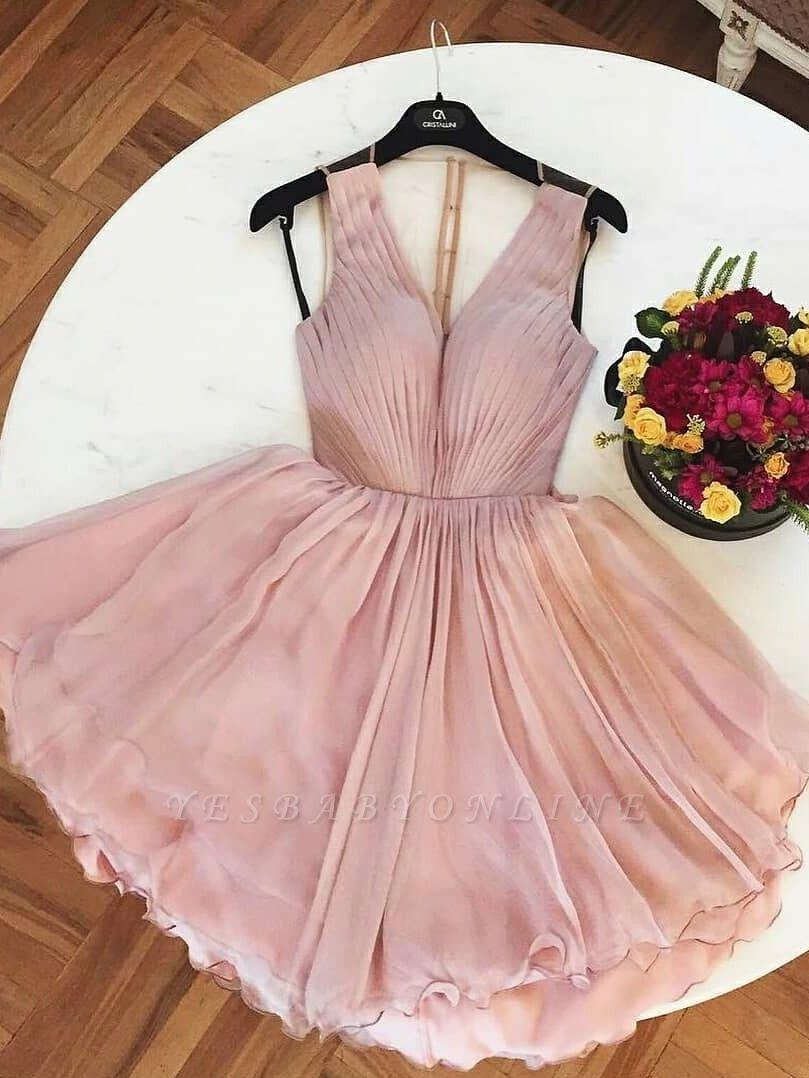 A-Line  Homecoming Dresses | V-Neck Straps Ruffles Short Cocktail Dresses