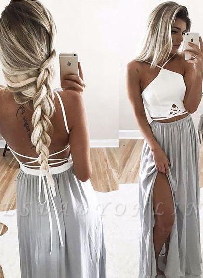 Long Halter-Neck Summer Spaghettis Straps Side-Slit Open-Back Prom Dresses
