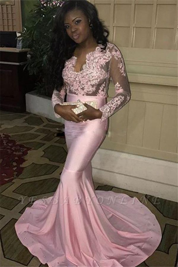 V-neck Long-Sleeves Sweep-Train Long Pink Mermaid Lace-Appliques Evening Dress