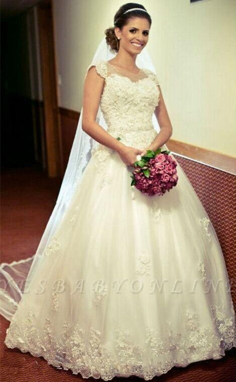 Lace Ball Appliques Princess Gown Tulle Crystal-Belt Jewel Cap-Sleeve Wedding Dress