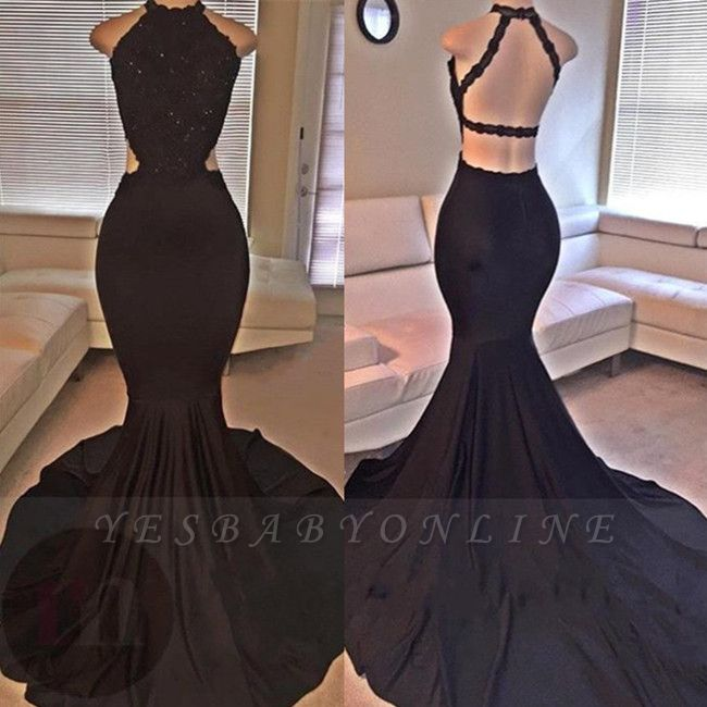 2019 Sexy Mermaid Prom Dresses Lace Beading Straps Backless Evening Gowns
