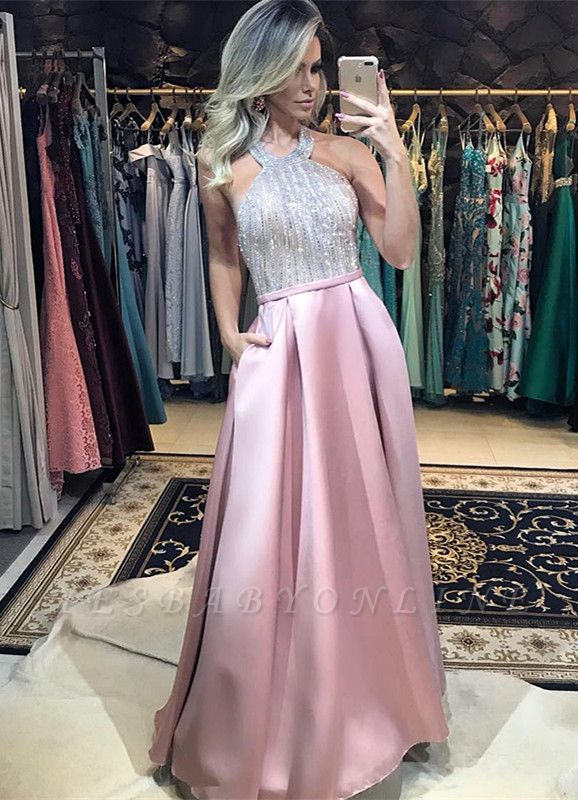 Elegant A-Line Pink Prom Dresses | Halter Beading Backless Evening Dresses