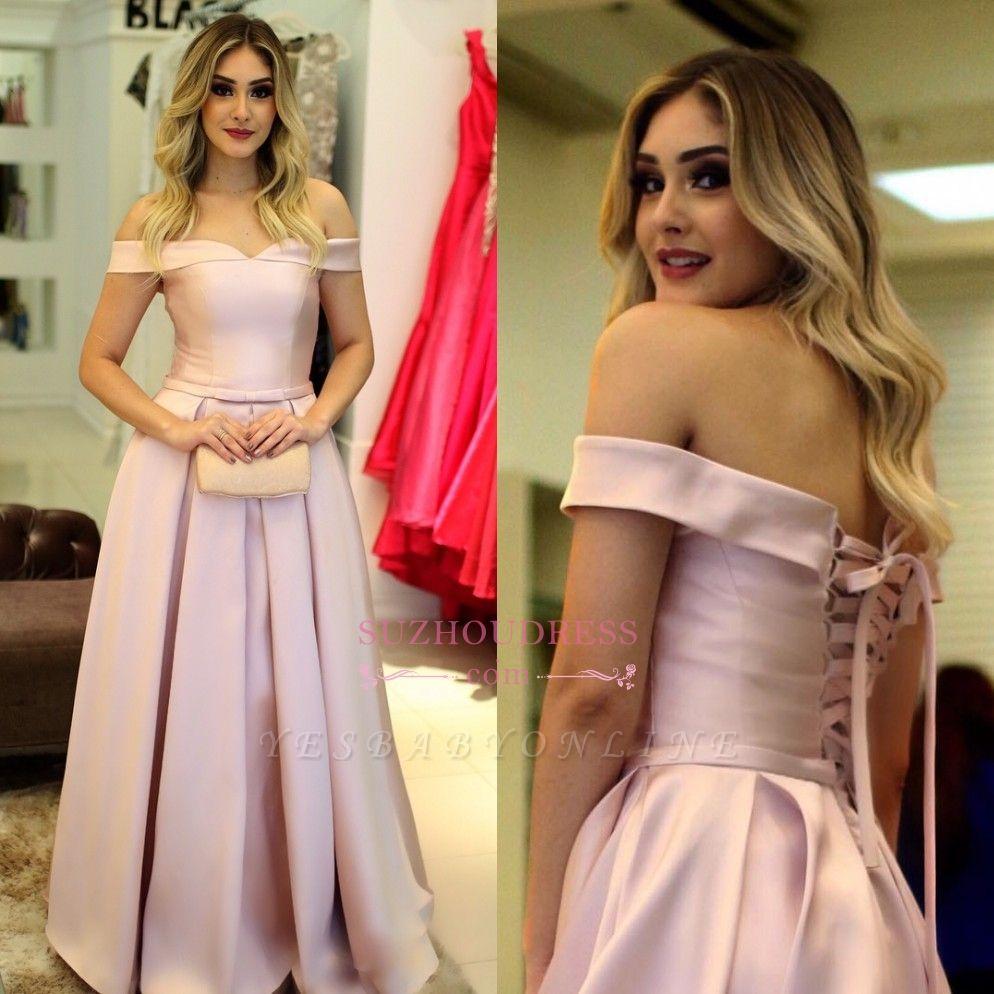 Pink Elegant Off-The-Shoulder A-Line Prom Dresses