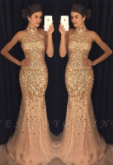 Crystals Sleeveless High-Neck Mermaid Sweep-Train Newest Prom Dress