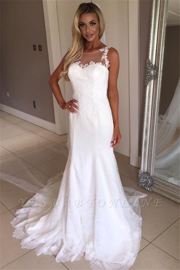 Glamorous Sleeveless  Sexy Mermaid Wedding Dress | Lace Appliques Bridal Gowns