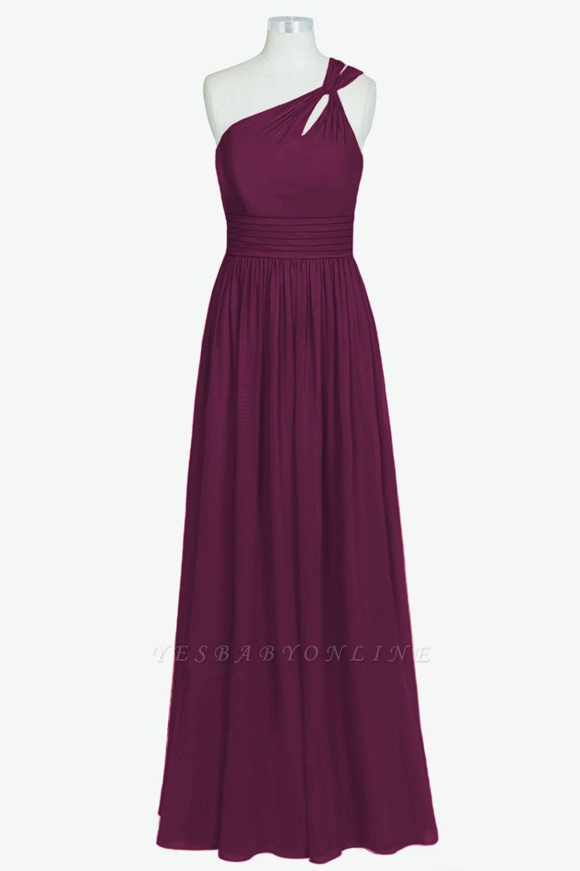 A Line Chiffon One Shoulder Floor Length Bridesmaid Dresses