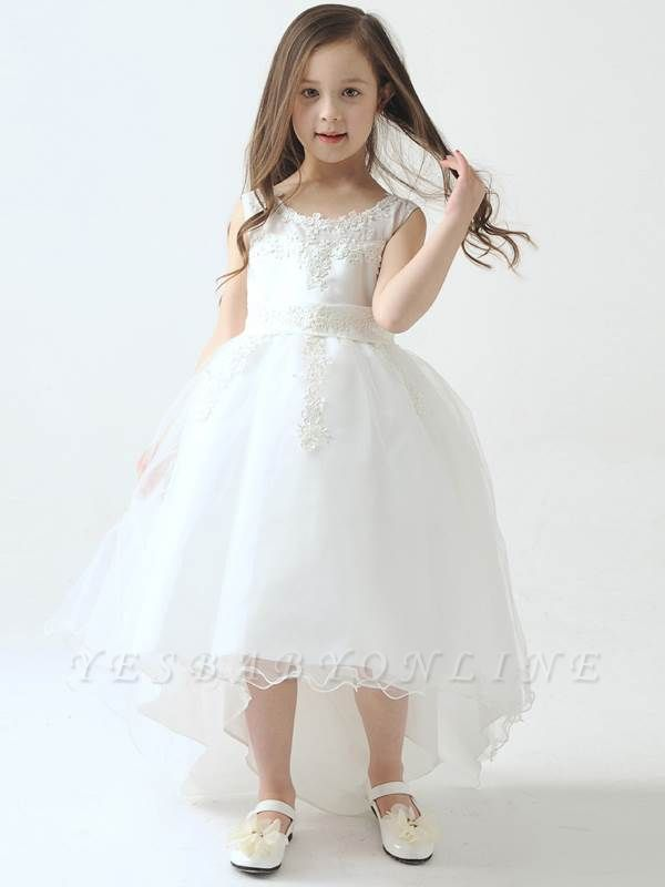 Cute Hi-Lo Lace Tulle Tea-Length Flower Girl Dress with Appliques